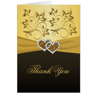 50th Anniversary Joined Hearts Thank You Card Card