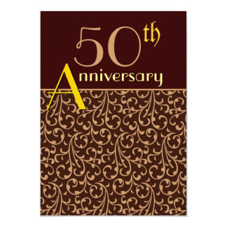 50th Anniversary Lace Damask Chocolate Gold Personalized Announcements