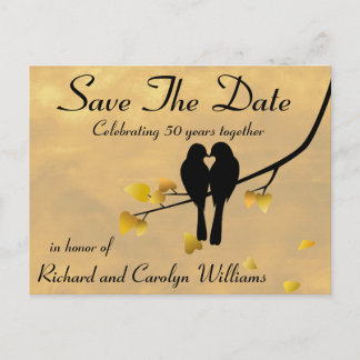 50th Anniversary Lovebirds Save The Date Announcement Postcard
