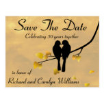 50th Anniversary Lovebirds Save The Date Postcard at Zazzle