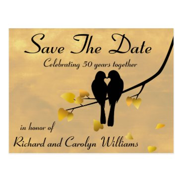 NightOwlsMenagerie 50th Anniversary Lovebirds Save The Date Postcard