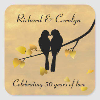 50th Anniversary Lovebirds Square Sticker