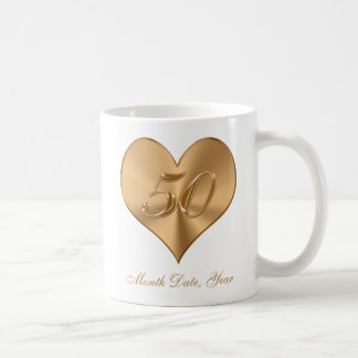 50th Anniversary Mugs Golden Hearts with YOUR TEXT