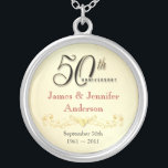 """50th Anniversary Necklace Elegant Keepsake Pendant<br><div class=""""desc"""">50th Anniversary Keepsake Pendant Necklace -- Elegant Golden 50th Wedding Anniversary Pendant with formal script and scrolled antique design -- Customize the names and date for your happy celebration. Perfect gift for your wife, mother, grandmother to commemorate 50 Golden Years together. Matching cards, invitations, postage and gifts available. Other styles...</div>"""