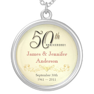 50th Anniversary Necklace Elegant Keepsake Pendant