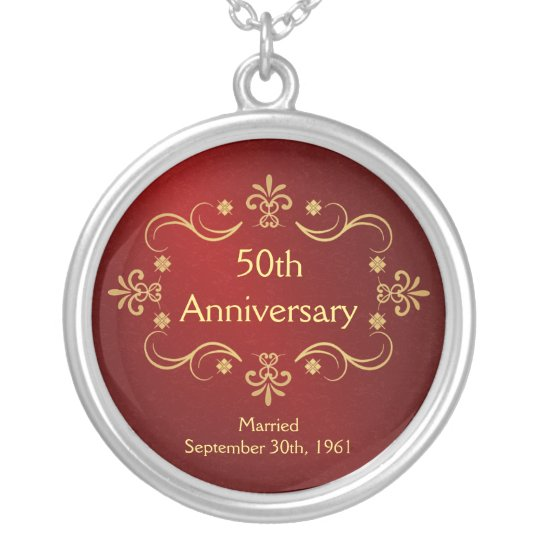50th Anniversary Necklace - Vintage Frame Pendant