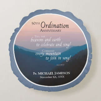 50th Anniversary of Ordination Congratulations Round Pillow