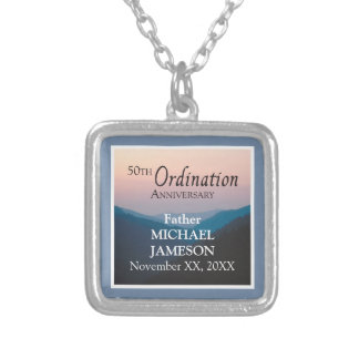 50th Anniversary of Ordination Congratulations Silver Plated Necklace