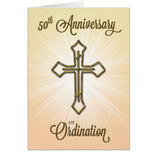 50th Anniversary of Ordination, Gold Cross Card