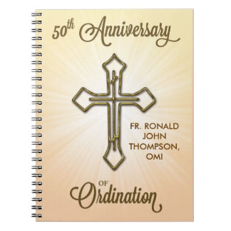 50th Anniversary of Ordination, Gold Cross on Star Notebook