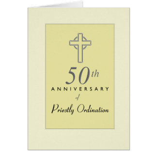50th Anniversary of Priest with Embossed Cross, Re Card