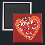 "50th Anniversary or Any Yr Whimsical Heart Gift Magnet<br><div class=""desc"">Funny and romantic anniversary gift magnet for any year of any anniversary for friends or family.  A heart whimsically decorated with the fun typography,  ""JUST MARRIED... ..?? YEARS AGO"".  They"