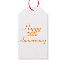 50th Anniversary Orange Text Gift Tags Template