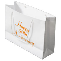50th Anniversary Orange Text Template Gift Bag