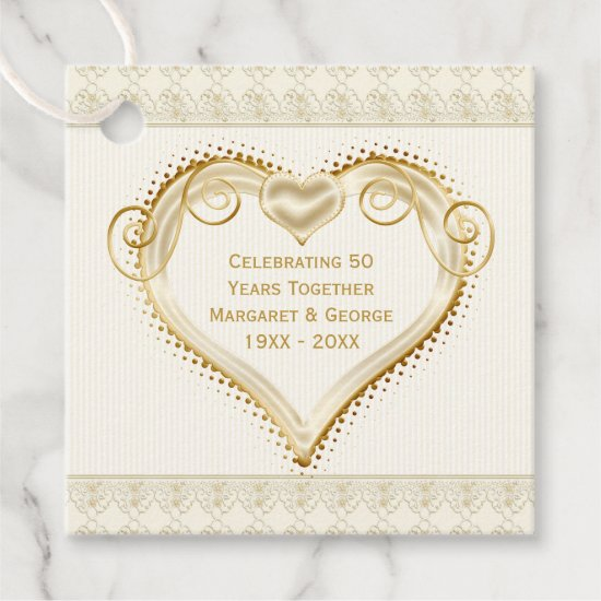 50th Anniversary Ornate Golden Hearts Thank You Favor Tags