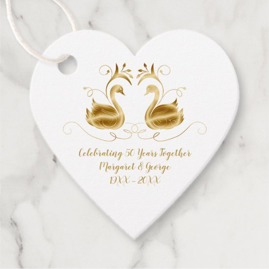 50th Anniversary Ornate Golden Swans Heart Shape Favor Tags
