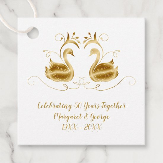 50th Anniversary Ornate Golden Swans Thank You Favor Tags