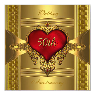 50th Anniversary Ornate Red Jewelled Heart Gold 2 Card