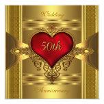 "50th Anniversary Ornate Red Jewelled Heart Gold 2 5.25"" Square Invitation Card"