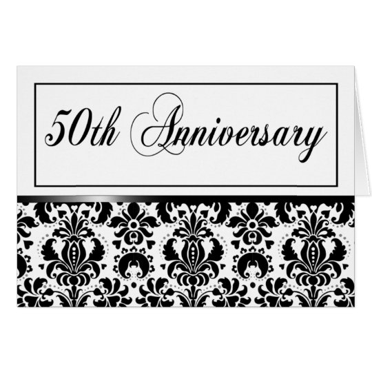 50th Anniversary Party (Chaucer/black & white) Card