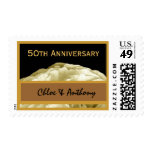 50th Anniversary Party CREAM & GOLD Wedding Rose Stamps