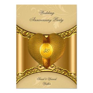 50th Anniversary Party Elegant Gold Golden Heart 4.5x6.25 Paper Invitation Card