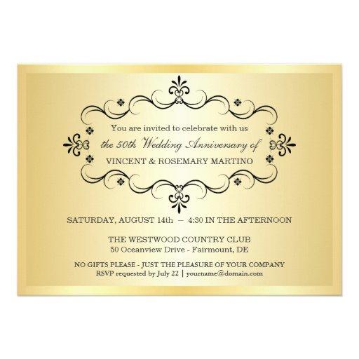 50th Anniversary Party - Elegant Photo Invitations (back side)