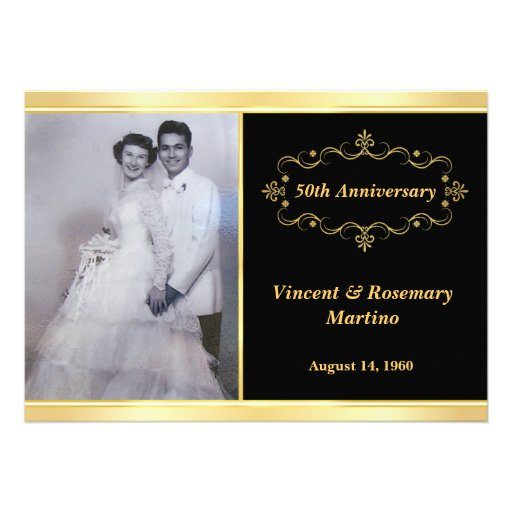 50th Anniversary Party - Elegant Photo Invitations (front side)