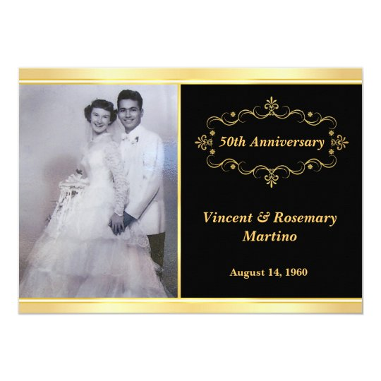 50th anniversary party elegant photo invitations. Black Bedroom Furniture Sets. Home Design Ideas