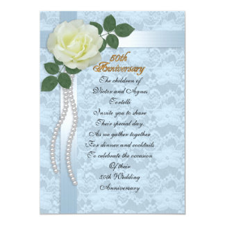 50th anniversary party for parents blue lace, rose card