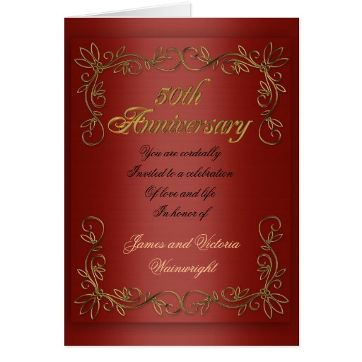 Th anniversary party for parents red satin look card
