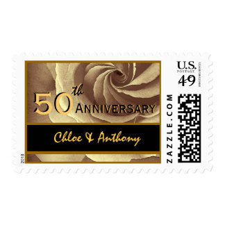 50th Anniversary Party GOLD and BLACK Wedding Rose Postage
