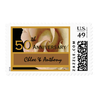 50th Anniversary Party GOLD and BLACK Wedding Rose Postage Stamp