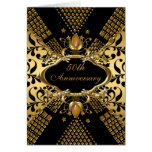 50th Anniversary Party Gold Black Damask Deco 2 Greeting Card
