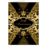50th Anniversary Party Gold Black Damask Deco 3 Cards