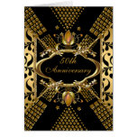 50th Anniversary Party Gold Black Damask Deco Greeting Cards