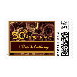 50th Anniversary Party GOLD CHOCOLATE Wedding Rose Postage Stamp