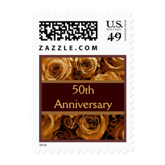 50th Anniversary Party GOLD Roses CHOCOLATE Ribbon Stamps
