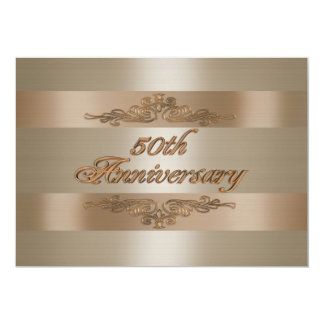 50th anniversary party gold satin-look invitation