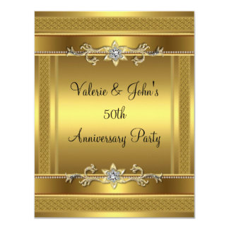 50th Anniversary Party Golden Gold Diamond Jewel Card