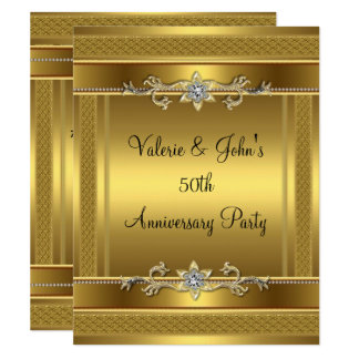 50th Anniversary Party Golden Gold Diamond Jewel Invitation