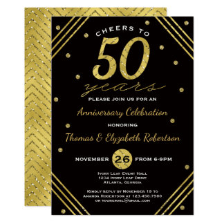 50th Anniversary Party Invitation, Faux Gold Card