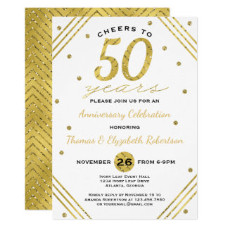 50th Anniversary Party Invitation, Faux Gold Invitation