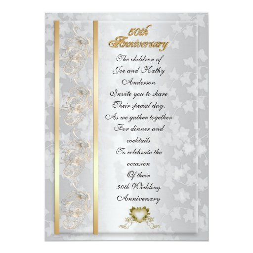 50th Anniversary party invitation for parents | Zazzle