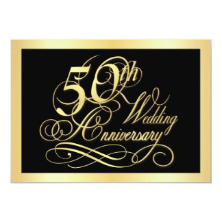50th Anniversary Party Invitation - Gold and Black