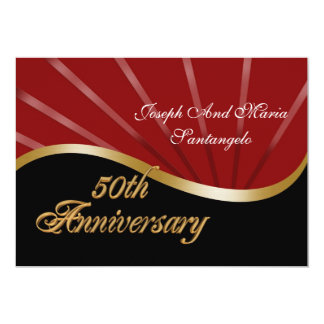 50th anniversary party invitation gold red