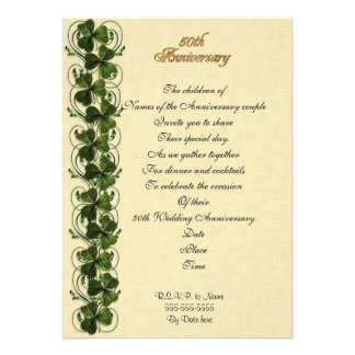 50th anniversary party invitation Irish shamrocks