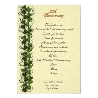50th anniversary party invitation Irish shamrocks