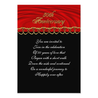 50th anniversary party invitation red,black,gold