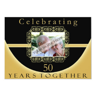"50th Anniversary Party Invitation With Photo 5"" X 7"" Invitation Card"